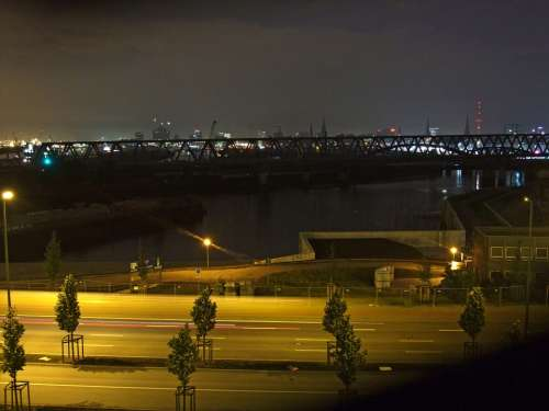 Hamburg Germany Elbe Bridge Night