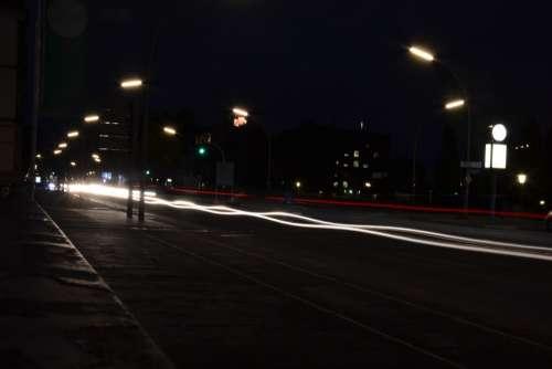 Hamburg Night Road City Traffic Light Shining