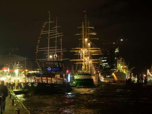Hamburg Night Hafengeburtstag Sailing Vessel Sail