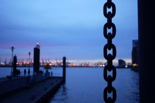 Hamburg Port Elbe Evening Chain