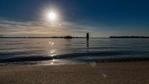 Hamburg Beach Blankenese Elbe Water Port City Sky