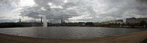 Hamburg Jungfernstieg Panorama