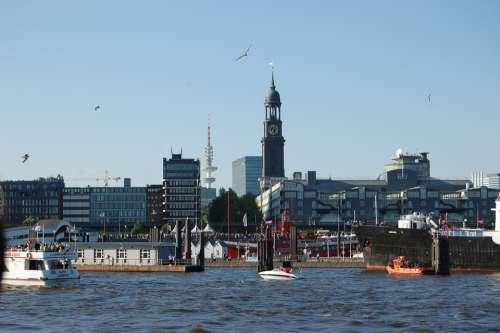 Hamburg Port Ships Michel
