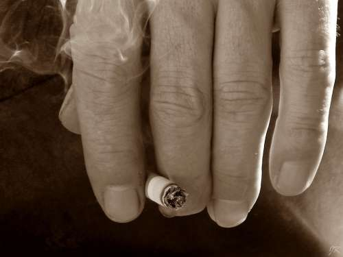 Hand Smoke Cigarette Nails Macro