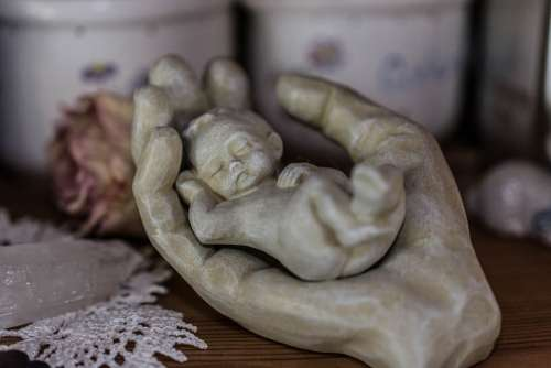 Hand Baby Sculpture Stone Deco