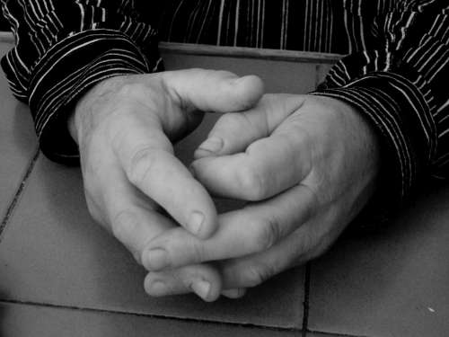 Hand One Hands Black And White Father Guy