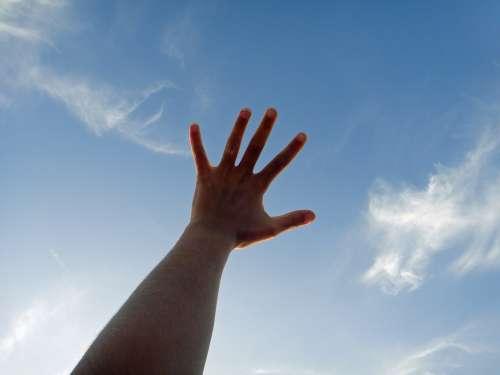 Hand Sky Clouds Blue Light Nature Summer