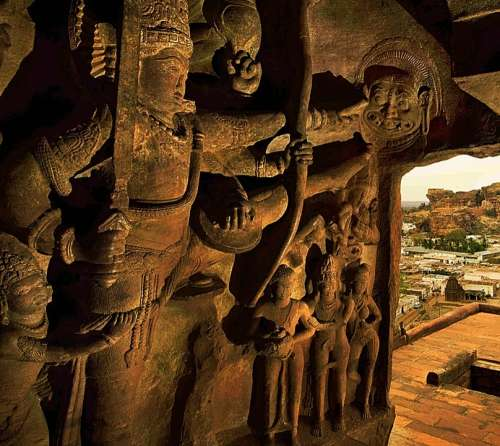 Hand Carved Sand Stone Bluff Cave Temple Badami