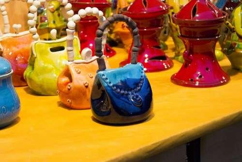 Handbag Bag Blue Decor Handmade Design Art Style