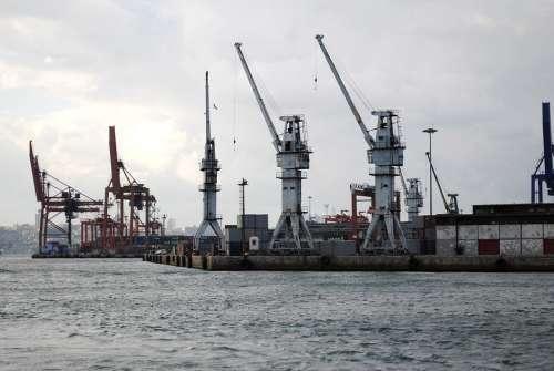 Harbor Crane Istanbul Haydarpasa Sea Port