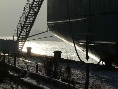 Harbour Port River Winter Fog Mist
