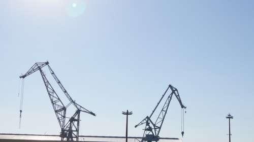Harbour Cranes Hamburg Port Sky Cranes Load Crane