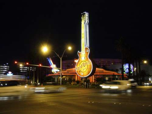 Hard Rock Cafe Neon Sign Advertisement Restaurant