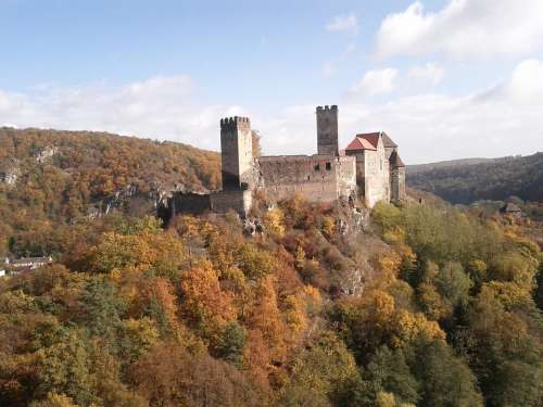 Hardegg Castle Austria Trees Autumn Forest Nature