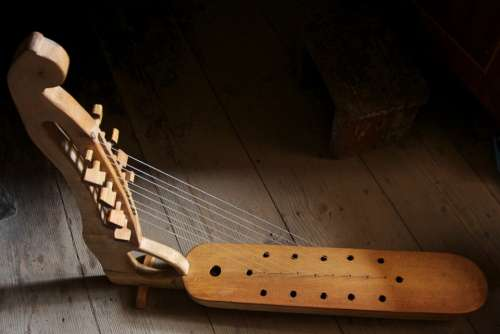 Harp Musical Instrument Wooden Traditional Changi