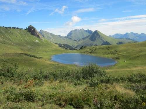 Haute-Savoie Lake Mountain Alps Savoie Landscape