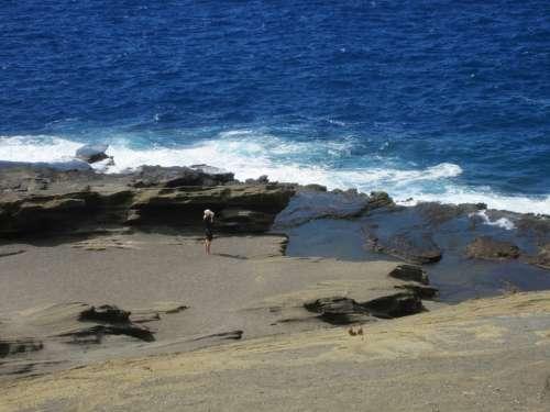Hawaii Island Sea Coast Beach Stones Ocean Woman