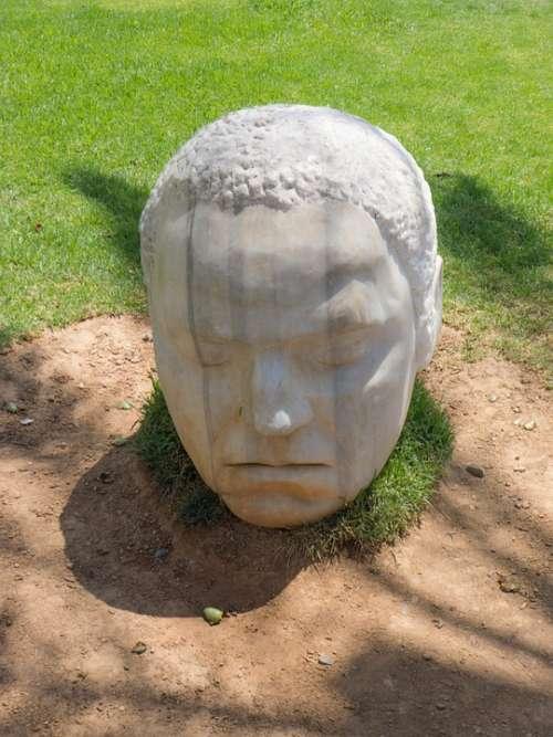 Head Statue Garden Asleep