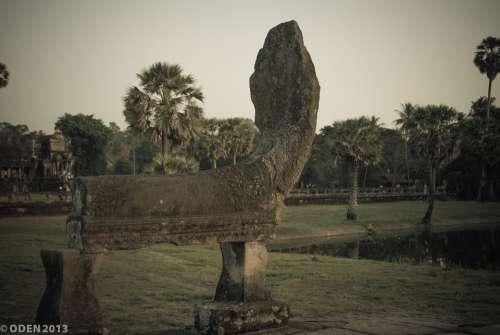 Head Naga Snake Statue Stone Angkor Cambodia