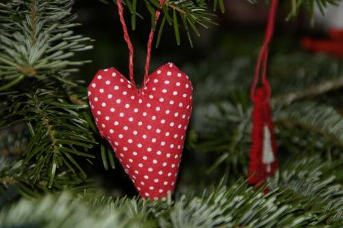 Heart Red Tilda Christmas Tree Decorations