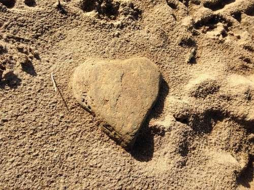 Heart Beach Romance Stone Sand Rock