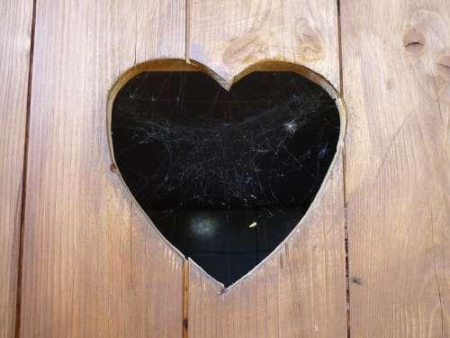 Heart Door Wood Toilet Door Cobweb Love