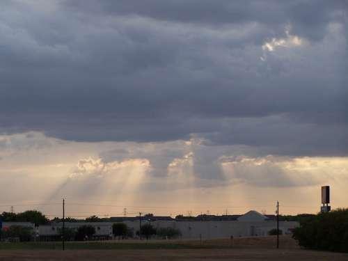 Heavens Window Light Clouds City Urban Suburban