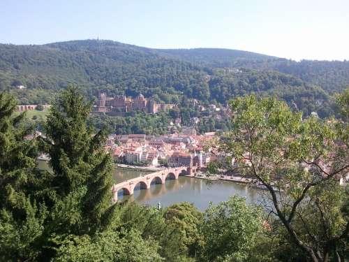 Heidelberg City Nature Germany Bridge Neckar