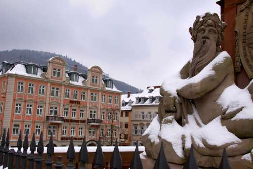 Heidelberg Old Bridge Neckar Monument Water God