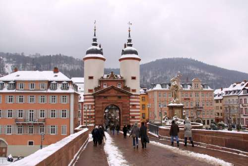 Heidelberg Old Bridge Neckar Winter Historically