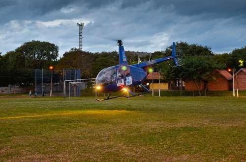 Helicopter Flying Aviation Start Landing Starting