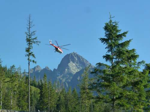 Helicopter Rescue Fly Emergency Red Aircraft