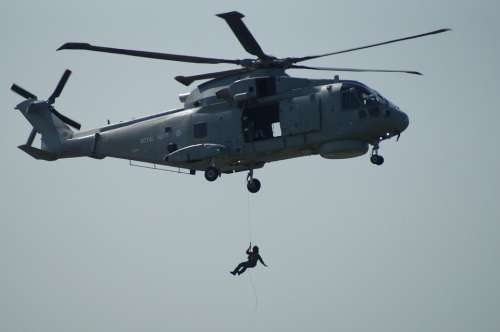 Helicopter Winch Recovering Man