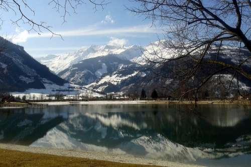 High Tauern Lake Mountains Uttendorf Badesee