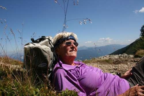 Hiking Break Mountain Walking Rest Woman