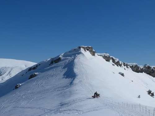 Hiking Mountain Winter Snow White Alps Altitude