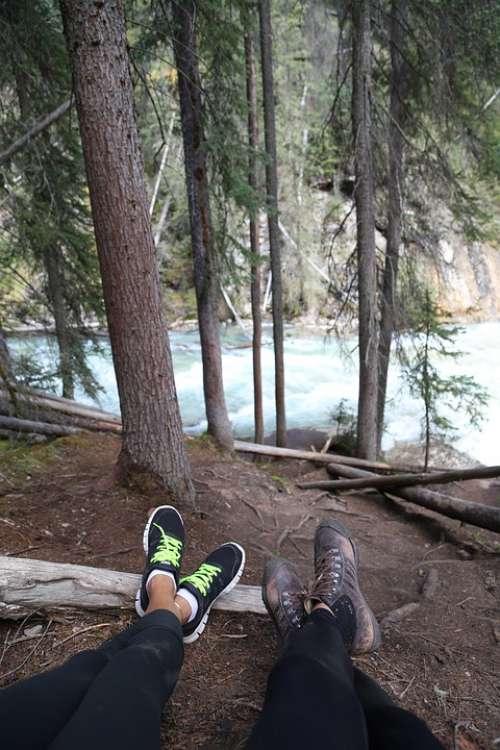 Hiking Break Resting Legs Shoes Trees Nature