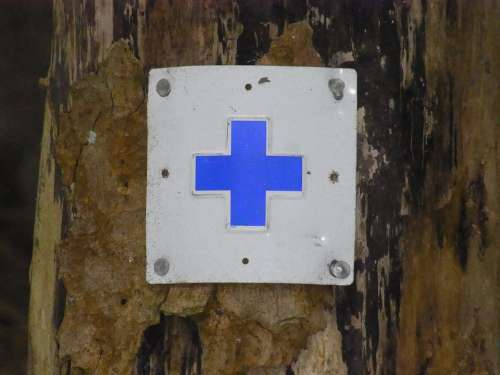 Hiking Trail Indicator Cross Blue Orientation