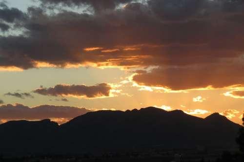 Hill Clouds Sunset Mexico Aguascalientes