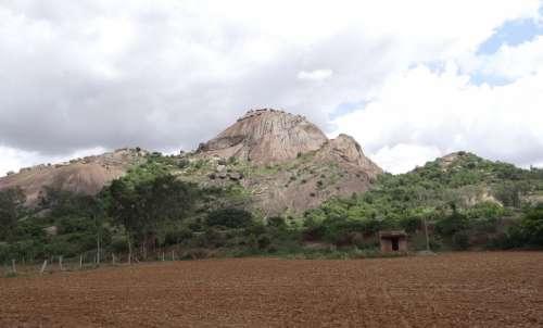 Hillock Rock Granite Deccan Plateau Karnataka