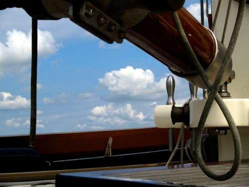 Historic Sail-Ship Sailing Tjalk Wood Boom