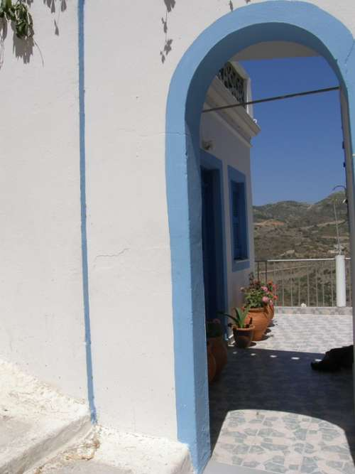 Vacations Greece Door Sun Blue Morning Beach