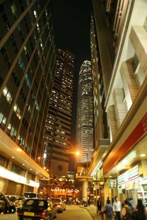 Hongkong Night View Street City China Urban