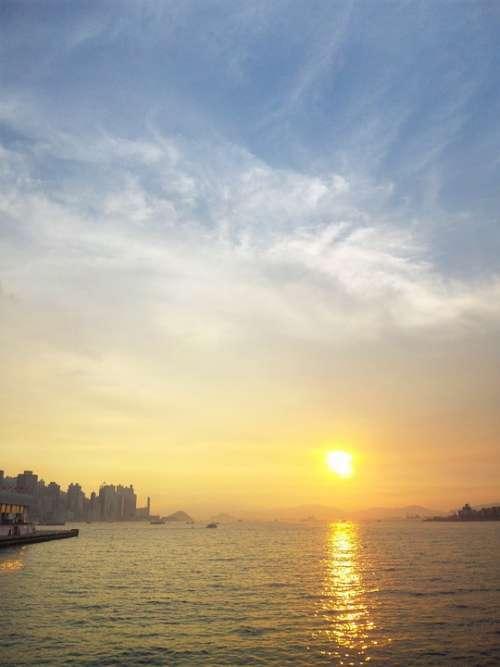 Hongkong Sky Victoria Harbor Sunset Sun Ocean