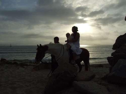 Horse Sunset Sky Silhouette Family Horseback