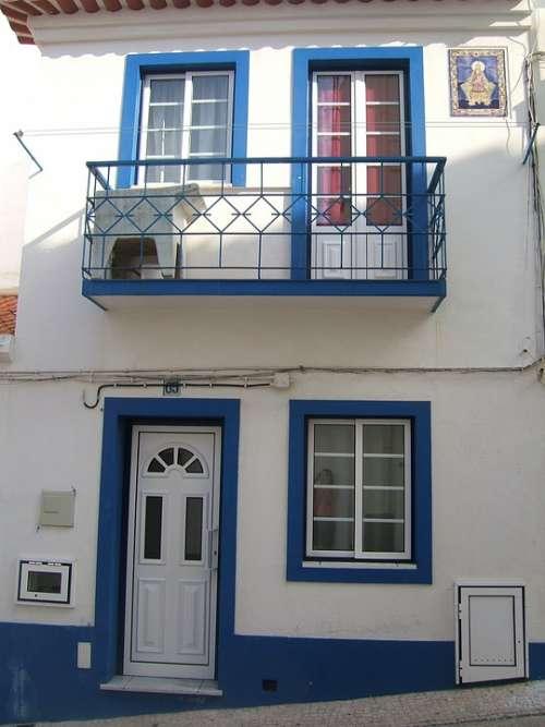 House White Blue Door Window Portugal
