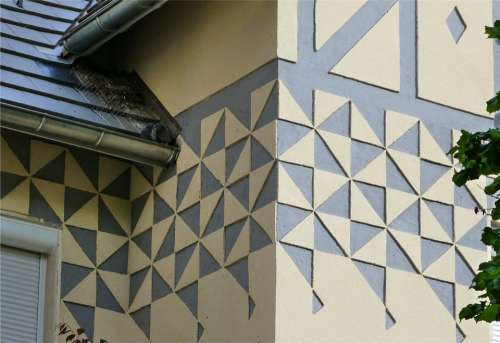 House Wall Facade Decor Relief Painting Geometry