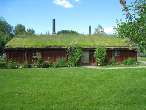 House Lawn Flowers Grass Roofs Sky Cloud Sweden