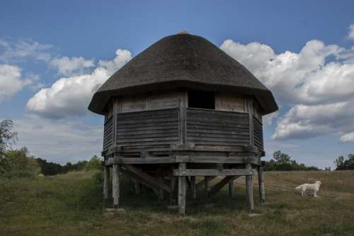 House Thatched Roof Reed Woodhouse Log Cabin Sky