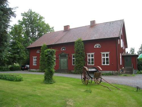 House Sweden Countryside Lawn Horse Carriage